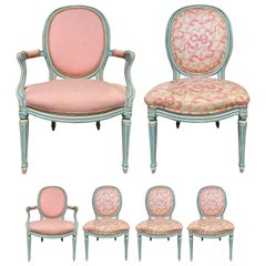 Set of Six 20th Century French Louis XVI Style Painted Chairs