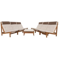 Set of Six Bernt Petersen Oak Lounge Chairs with Outdoor Fabric, Denmark, 1965