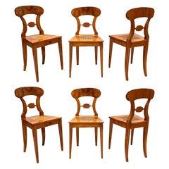 Set of Six Biedermeier Board Chairs, Cherry Veneer and Mesh, Vienna, circa 1830