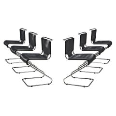 Set of Six 'Biscia' Chairs in Black Leather by Pascal Mourgue
