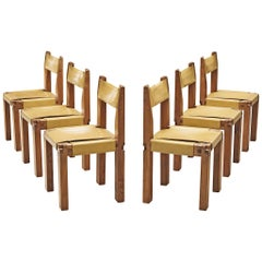Set of Six Dining Chairs in Solid Elm and Yellow Leather by Pierre Chapo