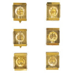 Set of Six Gold Coloured Maritim Wall Lamps by Vitrika, 1970s