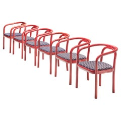 Large set of +75 Ton Chairs with Red Wooden Frames