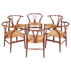 Set of Six Wishbone Chairs in Patinated Oak by Hans Wegner, 1960s