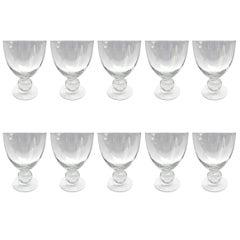 Set of Ten Blown Glass Wine Goblets
