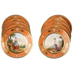 Set of Ten French Porcelain Plates, Nast, circa 1810