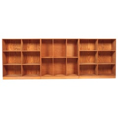Set of Three Bookcases in Pine by Mogens Koch, Danish Design, Midcentury 1950s