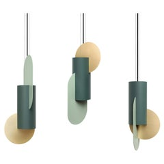 Set of Three Contemporary Pendant Lamps Suprematic CS5 by NOOM in Brass & Steel
