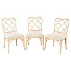 Set of Three Faux Bamboo Chinese Chippendale Dining Chairs