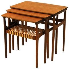 Set of Three Teak Insert Tables by Erling Torvits for HM, 1960s, Denmark
