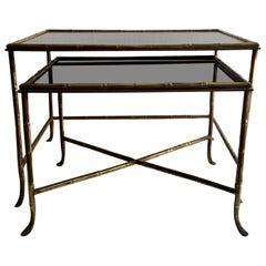 Set of Two Brass and Faux Bamboo Maison Baguès Nesting Table