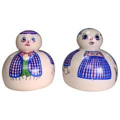 Aksini Folk Art Danish Modern Handmade Figurines, Pepper Shakers, 1950s