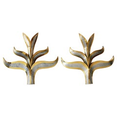 Set of Two Huge Brass 'Foliage' Wall Lamps or Sconces by Richard Faure, 1970s