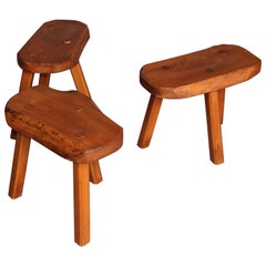 Set of Wood French Stools