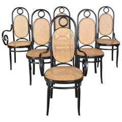 Set Six #17 Thonet Style Black & Natural Tall Bentwood Chairs by Salvatore Leone