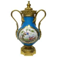 Sèvres Porcelain French Flowers Ormolu Bronze Celeste Blue Urn Vase 19th Century