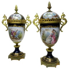 Sèvres Porcelain Watteau Scene Ormolu Cobalt Blue Urns Vases 19th Century, Pair