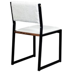 Shaker Modern Chair by Ambrozia, Walnut, Black Steel, Leather and Shearling