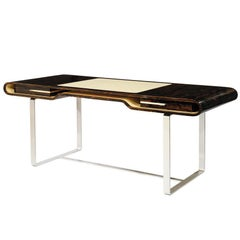 Shanghai Desk in Ziricotte Wood, Leather Top and Silver Patined Leg