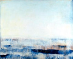 """""""Intuit""""  Expressionist Abstracted Painting of Ocean/Waves in Blues/White/Cream"""
