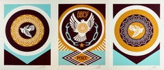 Peace Doves 2, Shepard Fairey Obey Contemporary Street Art, 3 Print Triptych