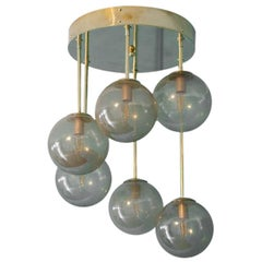 Short Midcentury Chandelier in Brass and Golden Murano Glass Globes, 6-Light