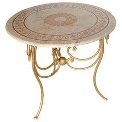 Side Table Gueridon Travertine Inlaid Top Iron Base Gold Leaf Finish