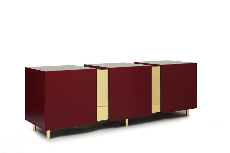 Sideboard in Brass and Colorful Lacquered Wood, Geometric-Shaped For Sale 5