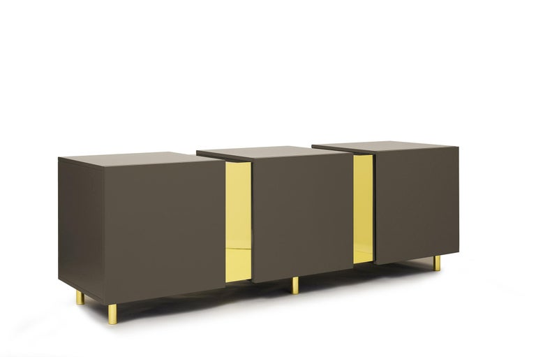 Sideboard in Brass and Colorful Lacquered Wood, Geometric-Shaped For Sale 6