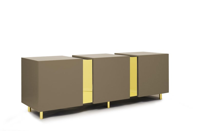 Sideboard in Brass and Colorful Lacquered Wood, Geometric-Shaped For Sale 7