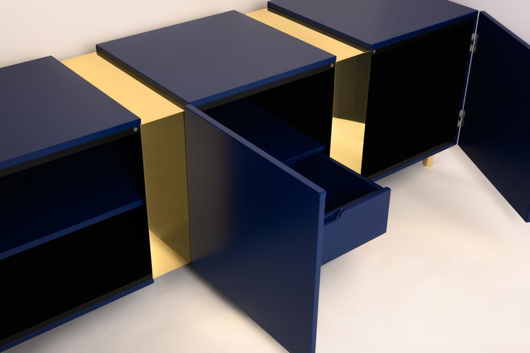 Modern Sideboard in Brass and Colorful Lacquered Wood, Geometric-Shaped For Sale