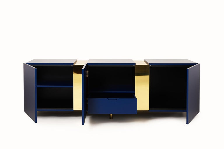 Italian Sideboard in Brass and Colorful Lacquered Wood, Geometric-Shaped For Sale