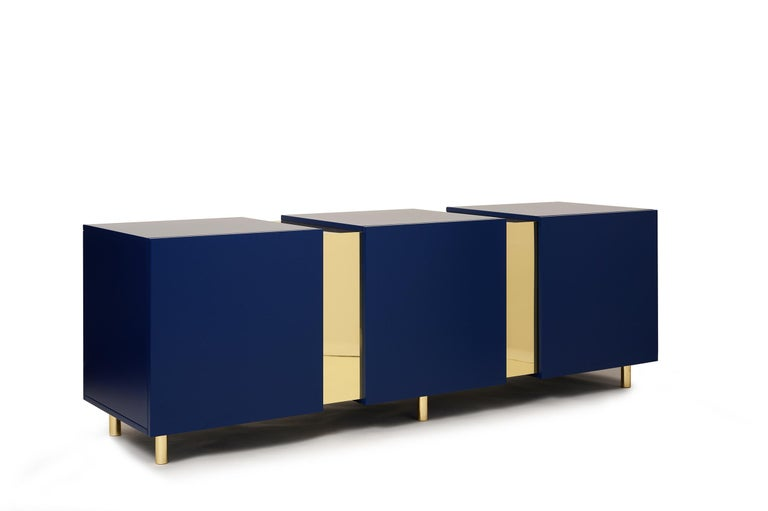 Rosewood Sideboard in Brass and Colorful Lacquered Wood, Geometric-Shaped For Sale