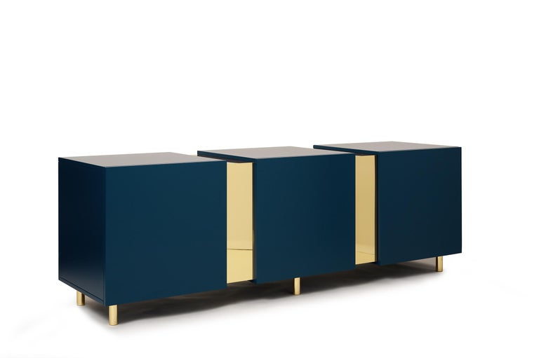 Sideboard in Brass and Colorful Lacquered Wood, Geometric-Shaped For Sale 1