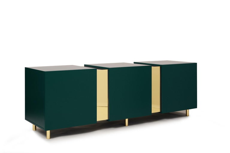 Sideboard in Brass and Colorful Lacquered Wood, Geometric-Shaped For Sale 2