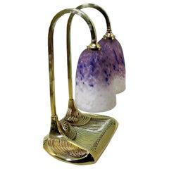 Signed Bronze Bousquet Double Lamp Schneider Pâte De Verre Glass, 1910