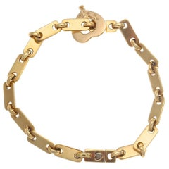 Cartier France Heart Clasp 18 Karat Gold Link Bracelet