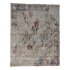 Silk With Oxidized Wool Broken Tulip Design Hand Knotted Oriental Rug