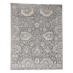 Silk With Oxidized Wool Hand Knotted Oushak Influence Oriental Rug