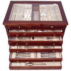 Silver 234-Pieces Cutlery Set 12 Persons Spain Orion Art Nouveau Cabinet ca.1900