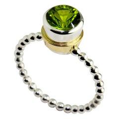 Silver 9 Karat Yellow Gold Peridot Bubble Ring