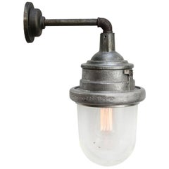Silver Grey Metal Vintage Industrial Clear Glass Wall Lights Scones