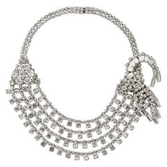 Silver Plated Four Strand Rhinestone Statement Collar Necklace circa 1950s