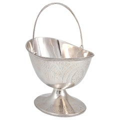 Silver Sugar Bowl with Handle, England, 1876