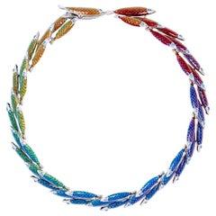 Simon Harrison Electra Rainbow Enamel Fish Necklace