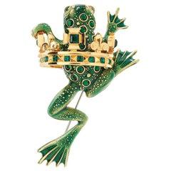 Simon Harrison Green Frog Prince Brooch