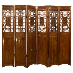 Six-Panel Teak Asian, early 20th Century Folding Screen / Room Divider