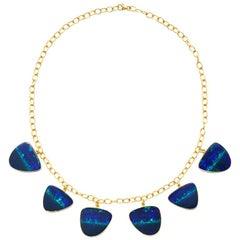 Six-Stone 84.88 Carat Opal and 18 Karat Gold Necklace
