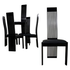 Six Tripod Postmodern Black Lacquer Dining Chairs by Pietro Costantini Made in