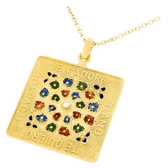 """1960 """"I Love You"""" in Four Languages Pendant"""